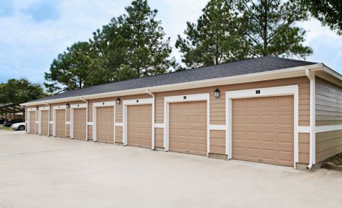Private, rentable garages at Camden Grand Harbor Apartments in Katy, TX