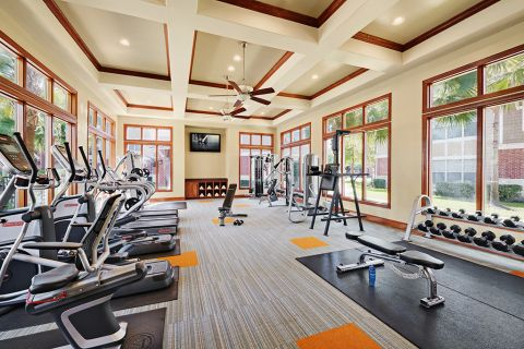 Fitness Center at Camden Grand Harbor Apartments in Katy, TX