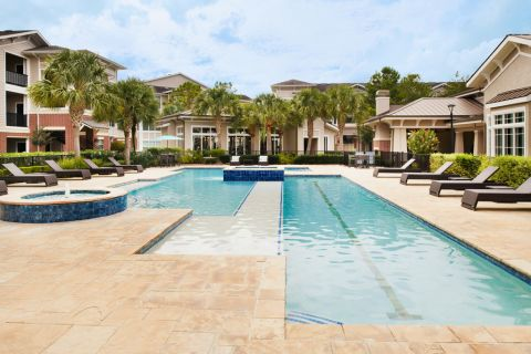 Resort-style Pool with Lap Lane at Camden Grand Harbor Apartments in Katy, TX