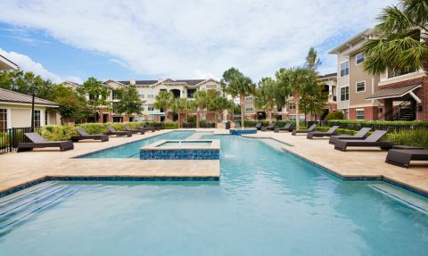 Resort-style Pool at Camden Grand Harbor Apartments in Katy, TX