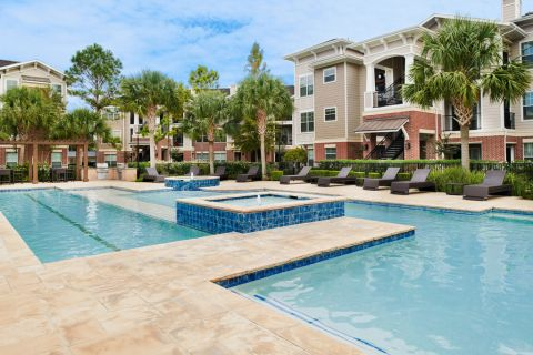 Pool with Lap Lane at Camden Grand Harbor Apartments in Katy, TX