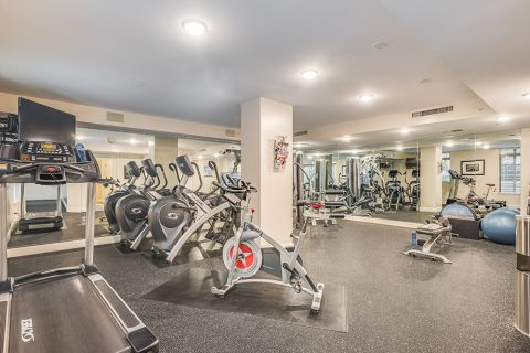Fitness Center with Cardio Equipment and Free Weights at Camden Grand Parc Apartments in Washington, DC