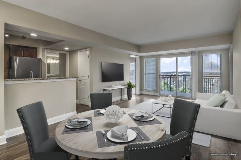 Open concept living/dining at Camden Grandview Apartments in Charlotte, NC