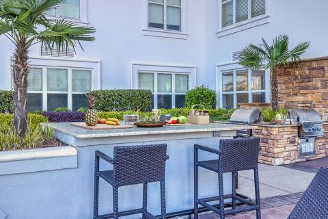 Swimming Pool with Outdoor Grills at Camden Grandview Apartments and Townhomes in Charlotte, NC