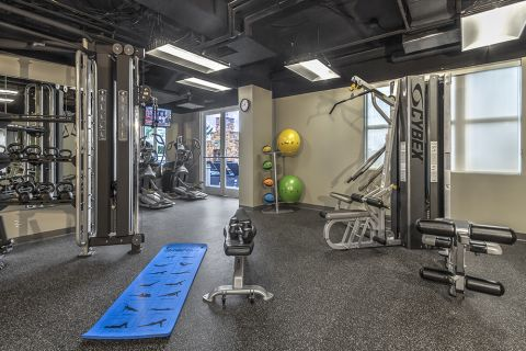 Fitness Center with Cardio Equipment and Free Weights at Camden Grandview Apartments in Charlotte, NC