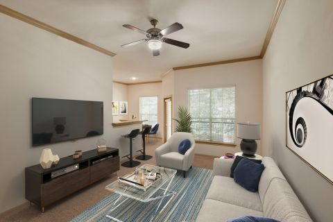 Living Room and Dining Area at Camden Greenway Apartments in Houston, TX