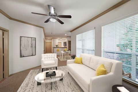 Living Room at Camden Greenway Apartments in Houston, TX