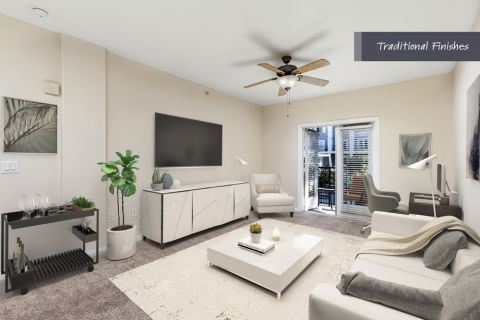 Spacious living room with traditional finishes at Camden Harbor View Apartments in Long Beach, CA