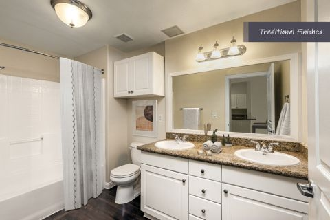Double vanity bathroom at Camden Harbor View Apartments in Long Beach, CA