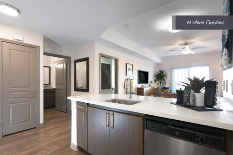 Kitchen with stainless steel appliances at Camden Harbor View Apartments in Long Beach, CA
