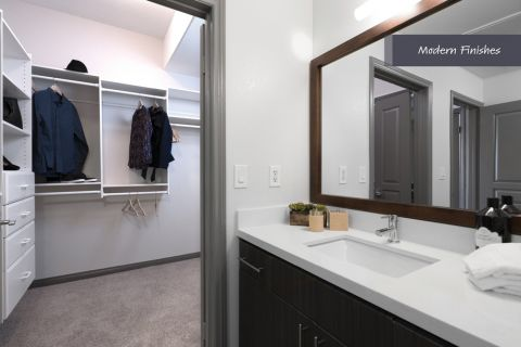 Bathroom and walk-in closet at Camden Harbor View Apartments in Long Beach, CA