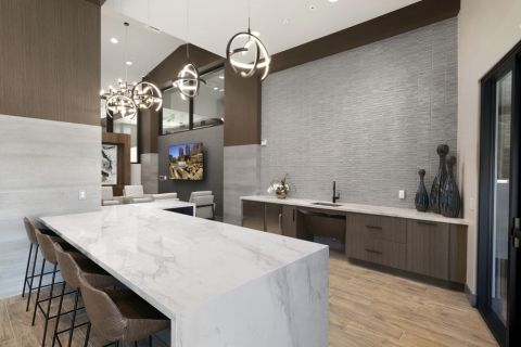 Resident lounge demo kitchen at Camden Harbor View Apartments in Long Beach, CA