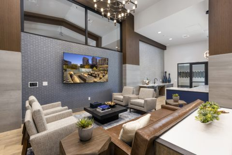 Resident lounge seating at Camden Harbor View Apartments in Long Beach, CA