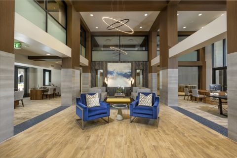 Resident lounge lobby at Camden Harbor View Apartments in Long Beach, CA