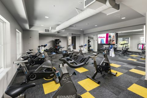 Cycle room in the fitness center at Camden Harbor View Apartments in Long Beach, CA