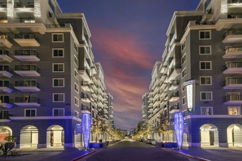 Retail Space and Building Exterior at Camden Harbor View Apartments in Long Beach, CA
