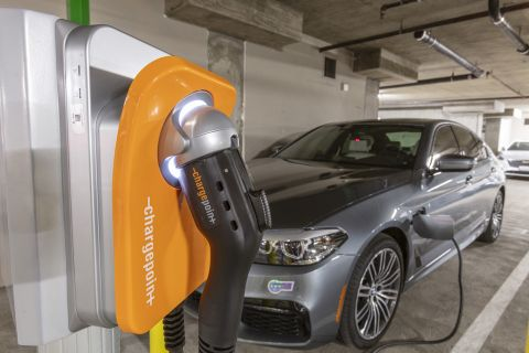 Electric Car Charging Stations at Camden Harbor View Apartments in Long Beach, CA