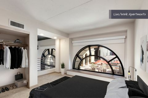 Loft-style live space at Camden Harbor View Live/Work Apartments in Long Beach, CA