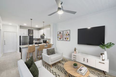 Living Room at Camden Heights Apartments in Houston, TX