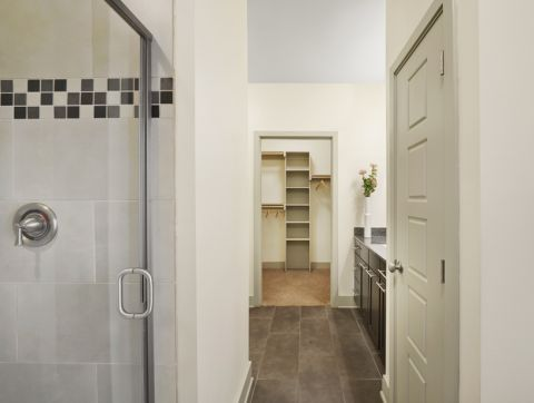 Bathroom with Walk-In Closet at Camden Henderson Apartments in Dallas, TX