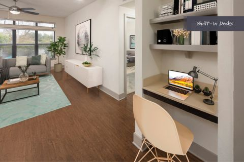 Built-in desks at Camden Henderson Apartments in Dallas, TX
