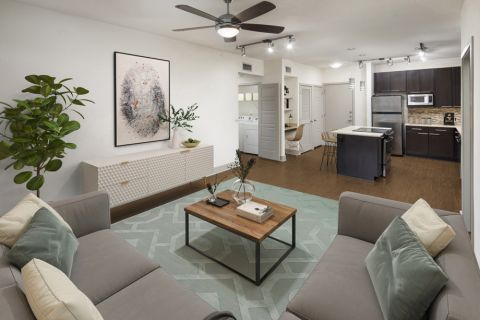 Large living room at Camden Henderson Apartments in Dallas, TX
