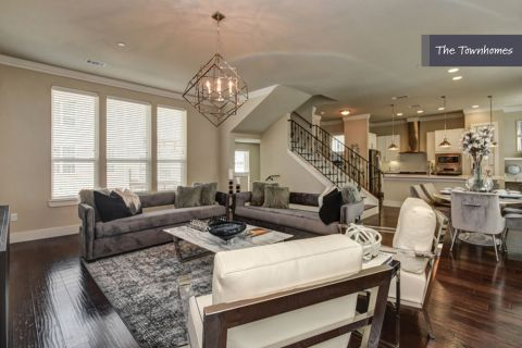 Living Room at The Townhomes at Camden Highland Village in Houston, TX