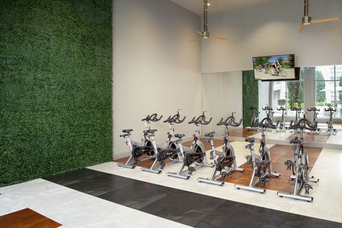 Fitness Center spin studio at Camden Highland Village in Houston, TX