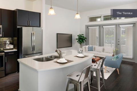 Kitchen with Large Island at The Terrace at Camden Highland Village in Houston, TX