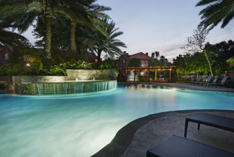 Pool with Water Feature at Camden Holly Springs Apartments in Houston, TX