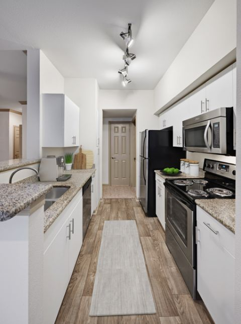 Kitchen with Stainless Steel Appliances at Camden Holly Springs Apartments in Houston, TX