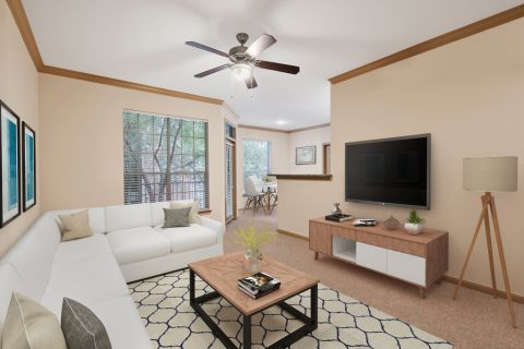 Living Room at Camden Holly Springs Apartments in Houston, TX