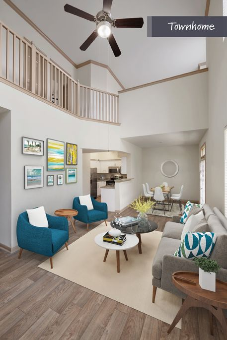 Townhome Living Room at Camden Holly Springs Apartments in Houston, TX
