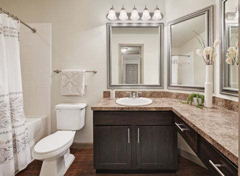 Bathroom with Large Countertops at Camden Huntingdon Apartments in Austin, TX
