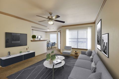 Living Room Open Concept Layout at Camden Huntingdon Apartments in Austin, TX
