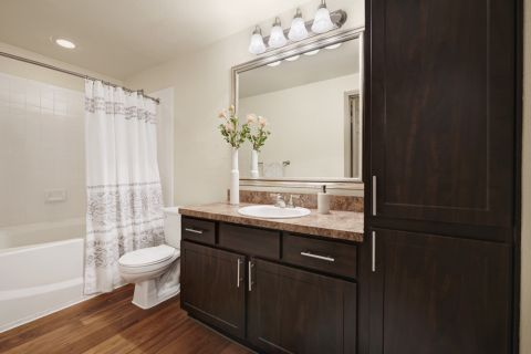 Bathroom with Storage Space at Camden Huntingdon Apartments in Austin, TX