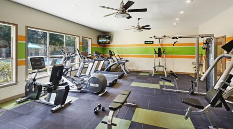 Fitness Center with Free Weights at Camden Huntingdon Apartments in Austin, TX