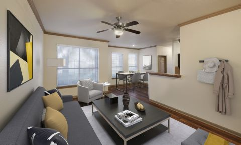 Living Room and Dining Room at Camden Huntingdon Apartments in Austin, TX