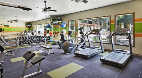 Fitness Center with Cardio Equipment at Camden Huntingdon Apartments in Austin, TX