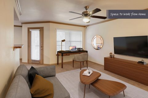 Living Room with Home Office Space at Camden Huntingdon Apartments in Austin, TX
