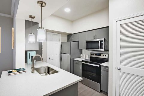Kitchen with Quartz Countertops, Undermount Sink, and Wood-Look Flooring at Camden Huntingdon Apartments in Austin, TX