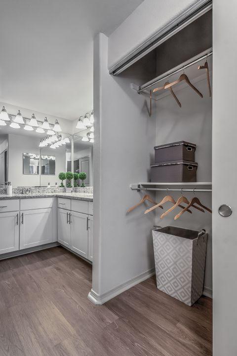 Bathroom and Closet at Camden Interlocken Apartments in Broomfield, CO