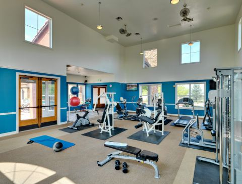 Weights in the Fitness Center at Camden Interlocken Apartments in Broomfield, CO