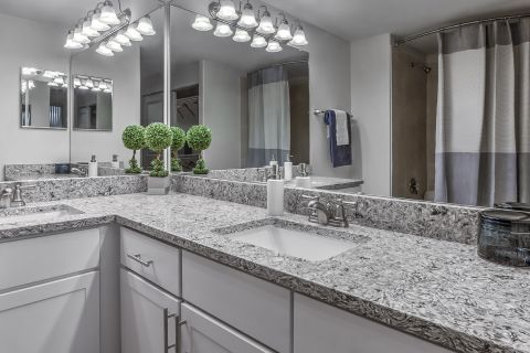 Bathroom with Granite Countertops at Camden Interlocken Apartments in Broomfield, CO