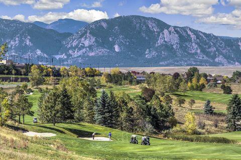 Mountain view from Omni Interlocken Golf Course at Camden Interlocken Apartments in Broomfield, CO
