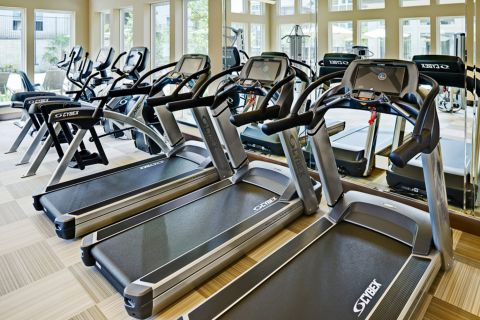 Fitness Center with Cardio Equipment at Camden La Frontera Apartments in Round Rock, TX