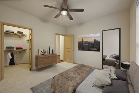 Bedroom with Walk-In Closet at Camden La Frontera Apartments in Round Rock, TX
