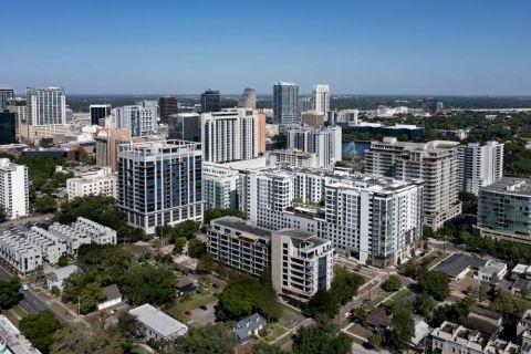 Drone View at Camden Lake Eola Apartments in Downtown Orlando, Florida