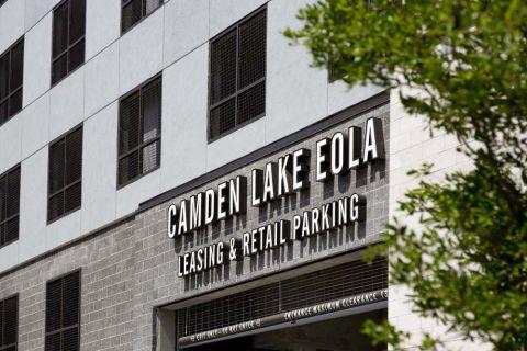 Entrance to Retail Parking at Camden Lake Eola Apartments in Downtown Orlando, Florida