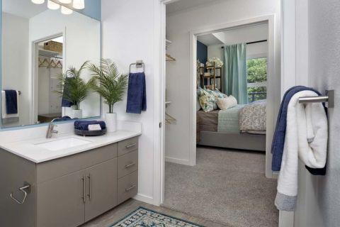 Main Bathroom at Camden Lake Eola Apartments in Downtown Orlando, Florida